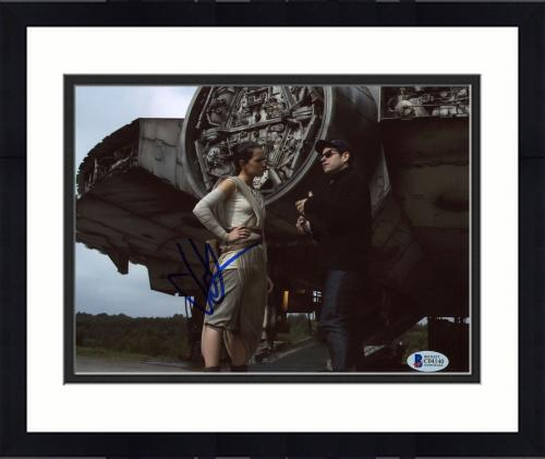 """Framed J.J. Abrams Autographed 8""""x 10"""" Star Wars: The Force Awakens with Daisy Ridley Behind Ship Photograph - BAS COA"""