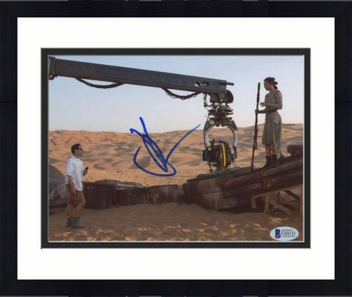 "Framed J.J. Abrams Autographed 8""x 10"" Star Wars: The Force Awakens with Daisy Ridley Photograph - BAS COA"