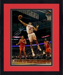 "Framed Joakim Noah Chicago Bulls Autographed 16"" x 20"" White Uniform Rebound Photograph"