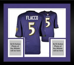 Framed Joe Flacco Baltimore Ravens Autographed Nike Game Replica Purple Jersey