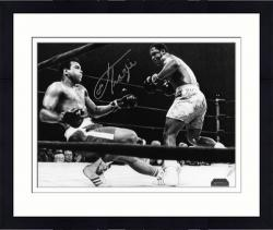 Framed Joe Frazier Autographed 8'' x 10'' Knocking Down Muhammad Ali Black and White Photograph