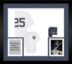 Framed Joe Girardi New York Yankees Autographed White Pinstripe #25 Replica Jersey
