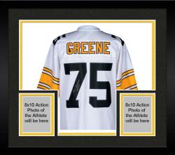 Framed Joe Greene Pittsburgh Steelers Autographed Pro Line White jersey with HOF 87 Inscription