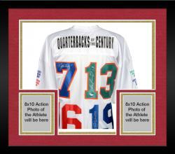 Framed Joe Montana, Dan Marino, John Elway and Johnny Unitas Quarterbacks Of The Century Autographed Jersey with Stats on Sleeves