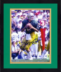 "Framed Joe Montana Notre Dame Fighting Irish Autographed 8"" x 10"" Looking To Pass Photograph"