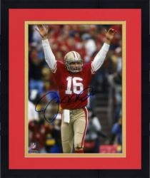 "Framed Joe Montana San Francisco 49ers Autographed 8"" x 10"" Arms Up Red Uniform Photograph"
