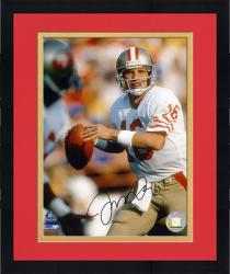 Framed Joe Montana San Francisco 49ers Autographed 8'' x 10'' Ball In 1 Hand Photograph