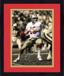 Framed Joe Montana San Francisco 49ers Autographed 8'' x 10'' Color Scheme Photograph