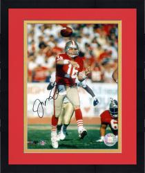 Framed Joe Montana San Francisco 49ers Autographed 8'' x 10'' Leg Up Red Uniform Photograph