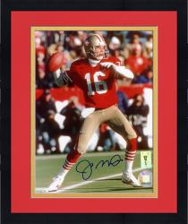 Framed Joe Montana San Francisco 49ers Autographed 8'' x 10'' Looking Downfield Photograph