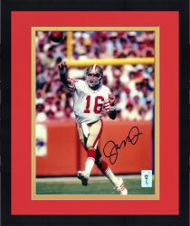 Framed Joe Montana San Francisco 49ers Autographed 8'' x 10'' Passing Photograph