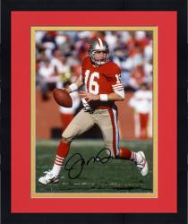 Framed Joe Montana San Francisco 49ers Autographed 8'' x 10'' Run with Ball In 1 Hand Photograph
