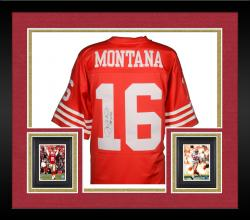 Framed Joe Montana San Francisco 49ers Autographed Red Mitchell & Ness Replica Jersey with HOF 00 Inscription