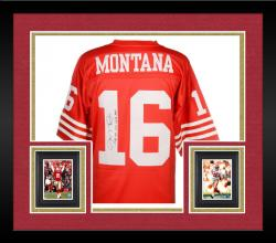 Framed Joe Montana San Francisco 49ers Autographed Red Mitchell & Ness Replica Jersey with Multiple Inscriptions