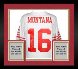 Framed Joe Montana San Francisco 49ers Autographed White Mitchell & Ness Replica Jersey