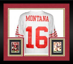 Framed Joe Montana San Francisco 49ers Autographed White Mitchell & Ness Replica Jersey