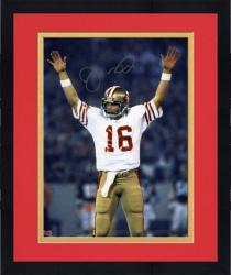 "Framed Joe Montana San Francisco 49ers Super Bowl XIX Autographed 8"" x 10"" Arms Up Photograph"