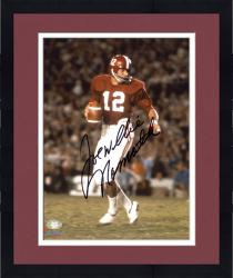 Framed Joe Namath Alabama Crimson Tide Autographed 8'' x 10'' Crimson Uniform with Ball Photograph