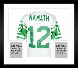 Framed Joe Namath New York Jets Autographed Replica White Jersey with Multiple Inscriptions