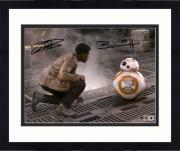 "Framed John Boyega & Brian Herring Star Wars The Force Awakens Autographed 8"" x 10"" Finn & BB-8 Photograph Signed in Black - Topps Authentic"