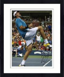 "Framed John Isner Autographed 8"" x 10"" Blue Shirt Knee Up Photograph"