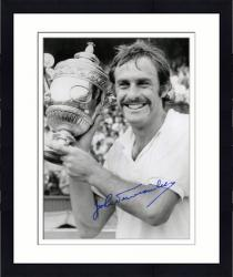"""Framed John Newcombe Autographed 8"""" x 10"""" Holding Trophy Photograph"""