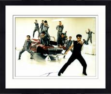 Framed John Travolta Autographed 11'' x 14'' Singing Red Car Photograph