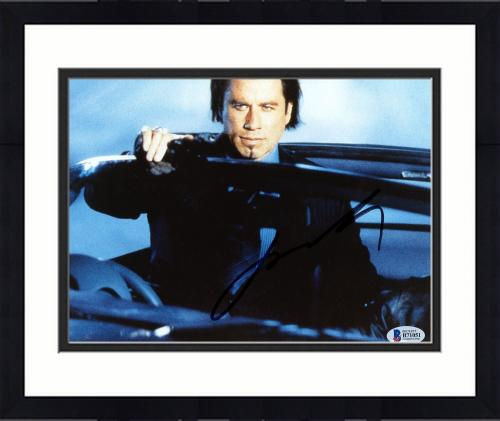 "Framed John Travolta Autographed 8"" x 10"" Wearing Suit Photograph - Beckett COA"