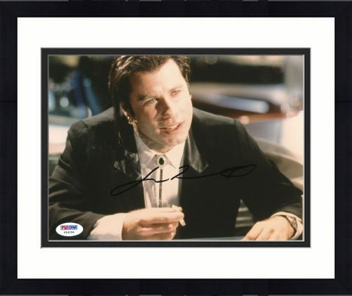 "Framed John Travolta Autographed 8""x 10"" Pulp Fiction Smoking Photograph With Black Ink - PSA/DNA COA"