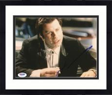 "Framed John Travolta Autographed 8""x 10"" Pulp Fiction Smoking Photograph With Blue Ink - PSA/DNA COA"