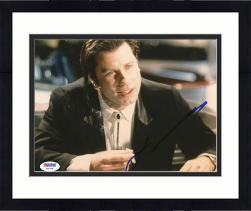 "Framed John Travolta Autographed 8""x 10"" Pulp Fiction Smoking Photograph With Blue Ink - PSA/DNA COA"