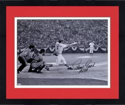 "Framed Johnny Bench Cincinnati Reds Autographed 16'' x 20'' Black & White Hitting Photograph with ""HOF 89"" Inscription"