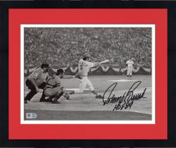 "Framed Johnny Bench Cincinnati Reds Autographed 8'' x 10'' Black & White Hitting Photograph with ""HOF 89"" Inscription"