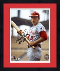 "Framed Johnny Bench Cincinnati Reds Autographed 8"" x 10"" with Bat Photograph with ROY 68 Inscription"