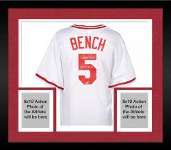 "Framed Johnny Bench Cincinnati Reds Cooperstown Collection White Throwback Jersey with ""MVP 70 & 72"" Inscription"