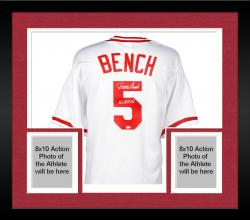 "Framed Johnny Bench Cincinnati Reds Cooperstown Collection White Throwback Jersey with ""ROY 68"" Inscription"