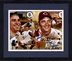 Framed Johnny Bench, Gary Carter, Carlton Fisk, & Yogi Berra Hall of Fame Catchers Autographed Panoramic