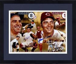 Framed Johnny Bench, Gary Carter, Carlton Fisk, & Yogi Berra Hall of Fame Catchers Autographed Panoramic