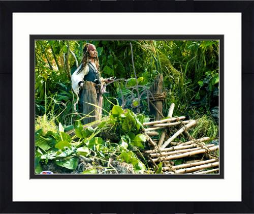 """Framed Johnny Depp Autographed 11"""" x 14"""" Pirates of the Caribbean - Holding Compass - PSA/DNA"""