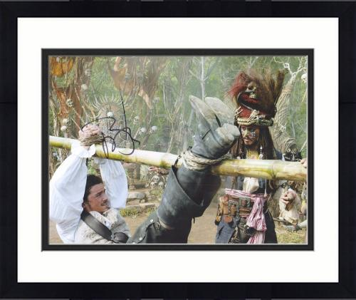 """Framed Johnny Depp Autographed 11"""" x 14"""" Pirates of the Caribbean With Orlando Bloom Photograph - PSA/DNA COA"""