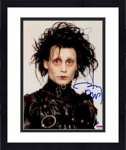 "Framed Johnny Depp Autographed 8"" x 10"" Edward Scissorhands Photograph - PSA/DNA COA"