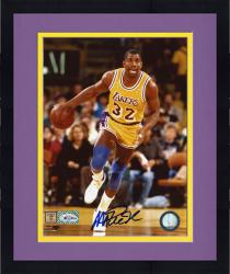 Framed JOHNSON, MAGIC AUTO (LAKERS/DRIBBLING) 8X10 PHOTO - Mounted Memories