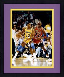 Framed Magic Johnson Los Angeles Lakers Autographed 16'' x 20'' Dribbling vs. Michael Jordan Photograph