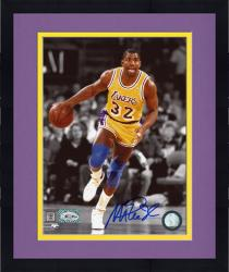Framed JOHNSON, MAGIC AUTO (LAKERS/DRIBBLING/SPOTLIGHT) 8X10 PHOTO - Mounted Memories