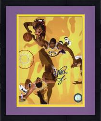 Framed JOHNSON, MAGIC AUTO (LAKERS/GOING FOR REBOUND) 8X10 PHOTO - Mounted Memories