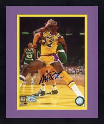 Framed Magic Johnson Autographed Lakers 8x10 Photo