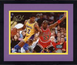 Framed JOHNSON, MAGIC AUTO (LAKERS/VS JORDAN/HORZ) 8X10 PHOTO - Mounted Memories