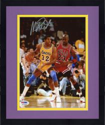 Framed JOHNSON, MAGIC AUTO (LAKERS/VS JORDAN/VERT) 8X10 PHOTO - Mounted Memories