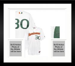 Framed Jon Jay Miami Hurricanes Game Used Autographed Jersey