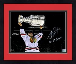 Framed Jonathan Toews Chicago Blackhawks Autographed 11'' x 14'' Photograph with 2X SC Champs Inscription - #19 of a Limited Edition of 19